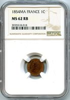France Napoleon III 1 Centime 1854 MA Marseille NGC MS62 RB