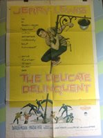 """LEWIS,JERRY """"The Delicate Delinquent """" Original Movie Poster 1957"""