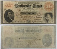 1861 $10 CSA Confederate States of America Note T24