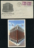 US 1933 Advertising cover & Postcard Hotel Muehlebach Kansas city Mo. SUPERB