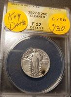 1927 S F12 Certified Standing Liberty Quarter C106