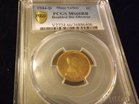 1944-D Penny DOUBLE DIE OBVERSE PCGS MS 66 RB