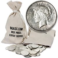 Peace Silver Dollars 100 Coin Bag - 90% Silver Coins Circulated Cull