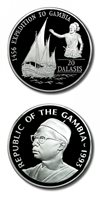 Gambia Prince Henry the Navigator 1456 Expedition 20 Dalasis 1993 Proof Silver Crown