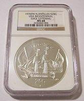 Netherlands Antilles 1976 FM Silver 25 Gulden USA Bicentennial MS68 NGC