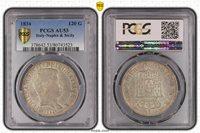 1834 ITALY NAPLES & SICILY 120 GRANA PCGS AU53