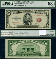 FR. 1534* $5 1953-B Legal Tender *-A Block PMG CU63EPQ Star