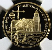 "1992 GOLD FALKLAND 25 POUND NGC PROOF 69 ULTRA CAMEO ""100th ANNIVERSARY OF THE CHRIST CHURCH CATHEDRAL"" ONLY 400 MINTED"