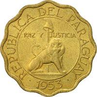 Paraguay, 15 Centimos, 1953, AU(50-53), Aluminum-Bronze, KM:26