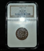 1854 BRAIDED HAIR HALF CENT ✪ NGC MS-63-BN ✪ 1/2C C-1 UNCIRCULATED BU ◢TRUSTED◣