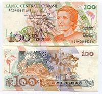 Brasil 100 Cruzeiros 1990 P228 Banknote Money Unc 10 Note A Prefix