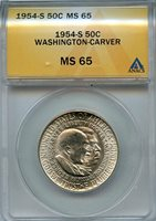 1954 S 50C ANACS MS 65 (BU) COMMEMORATIVE WASHINGTON CARVER SILVER HALF DOLLAR