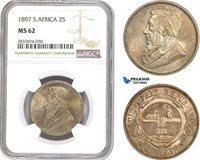 AD765, South Africa (ZAR) 2 Shillings 1897, Pretoria, Silver, NGC MS62