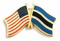USA - BOTSWANA FRIENDSHIP CROSSED FLAGS LAPEL PIN - NEW - COUNTRY PIN