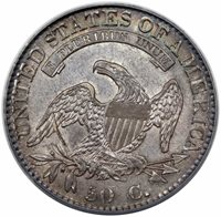 1832 Bust Half Dollar Large Letters PCGS AU-58 CAC ON HOLD