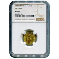 Italy 10 Lire Gold 1863 T BN 18.5mm MS64 NGC