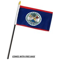 BELIZE FLAG DESK SET WITH BASE 4x6 INCHES - TABLE STICK FLAG