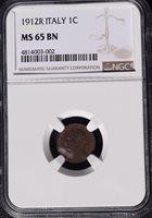 1912 R Italy 1 Centesimo, NGC MS 65 BN, Better Date