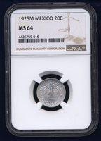 MEXICO ESTADOS UNIDOS 1925 20 CENTAVOS COIN CERTIFIED UNCIRCULATED NGC MS-64