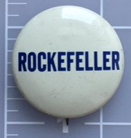 White Rockefeller campaign button with blue lettering
