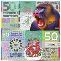 Banco De Kamberra 50 Numismas - 2016 Year of the Monkey - Fantasy Issue Polymer Note