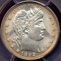 1892 BARBER 25c PCGS MS64 .. GREAT EYE APPEAL!