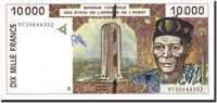 10,000 Francs West African States Banknote, 1997, Km:114ae