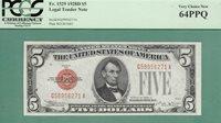 1928D $5 United States Note - PCGS CU 64 - Fr 1529 - 1928 D - PCGS CU 64