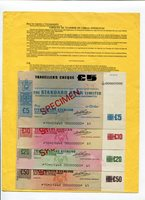 UNITED KINGDOM - Standard Bank, London. 1970s. 4 specimen cheques tipped along selvage edge to yellow A4 carrier sheet.