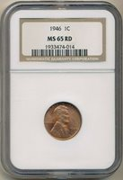 1946 LINCOLN WHEAT CENT-STUNNING COIN! NGC GRADED MS65 RED-SHIPS FREE!