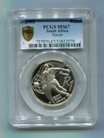 PCGS SECURE PLUS MS 67 SOUTH AFRICA 2002 R1 SILVER PROTEA SOCCER COIN - 527 MINTED