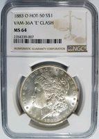 1883 O Silver Morgan Dollar NGC MS 64 Vam 36A E Clash Hot 50 List Mint Error