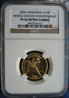 Argentina 2004 Gold 10 Pesos NGC PF-64 Ult. Cameo World Soccer Championship