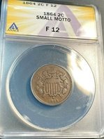1864 Small Motto Key Two Cent Piece ANACS F12 Beauty Easily Best Price Ebay CHN