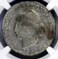***** NGC ***** ECUADOR 4 REALES 1862 1 YEAR TYPE! F-12 LOOKS BETTER! RARE!