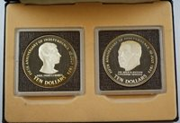 1978 Bahamas 5th Anniversary 2 Coin Silver Proof Set with Case and a COA
