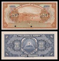 Nicaragua. Banco Nacional de Nicaragua. 20 Cordobas. 1951. P-95s...