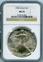 1990 $1 silver eagle ngc ms70
