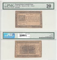 March 16, 1785 3 Pence Pennsylvania Colonial Fr PA-265 PMG Very Fine-20