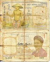 """French Indochina 1 Piastres Pick #: 54b ND (1936?) G/Poor (See scan)Other Dot under O in MOT (Please check scan to make sure I have cataloged correctly) Multicolored Woman; Building; Man with basketsNote 5"""" x 3 1/4"""" Asia and the Middle East Head of man (think it is Greek God winged head?)"""