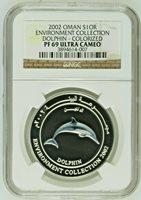 2002 Oman Silver Colorized Coin 1 Rial Dolphin NGC PF69 Box COA Rare