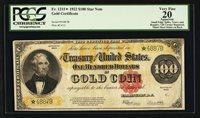 FR 1215* 1922 $100 ONE HUNDRED DOLLARS *STAR* GOLD CERTIFICATE PCGS VERY FINE-20