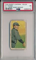 1910 T206 SWEET CAPORAL 350/25 - CY YOUNG, CLE. BARE HAND SHOWS- PSA 1 PR (SVSC)