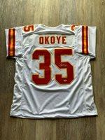 Christian Okoye autographed signed jersey NFL Kansas City Chiefs PSA