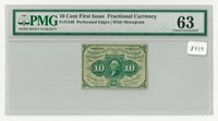 Fr#1240 10¢ 1st Issue Fractional Currency, Perforated Edges w/ Monogram, PMG 63