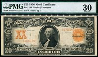 $20 1906 Gold Note Fr1184. Napier-Thompson. PMG Very Fine 30. Perfect mid-grade example. Serial E172215.