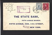MONTICELLO, NEW YORK COVER,1914. F-1 REGISTERED COVER TO NYC
