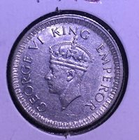 1943 India 1/4 Rupee Reeded Edge Silver KM#546