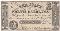 $2.00 Note The State of North Carolina (Cr-13) 1861. Plain Paper and Plain Back F-VF.
