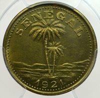 SENEGAL Brass 50 Centimes 1921 PCGS MS63 Ziguinchor Rare!